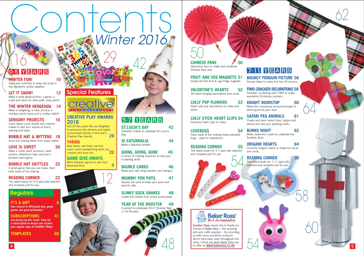 Creative Steps – Winter 2016's contents