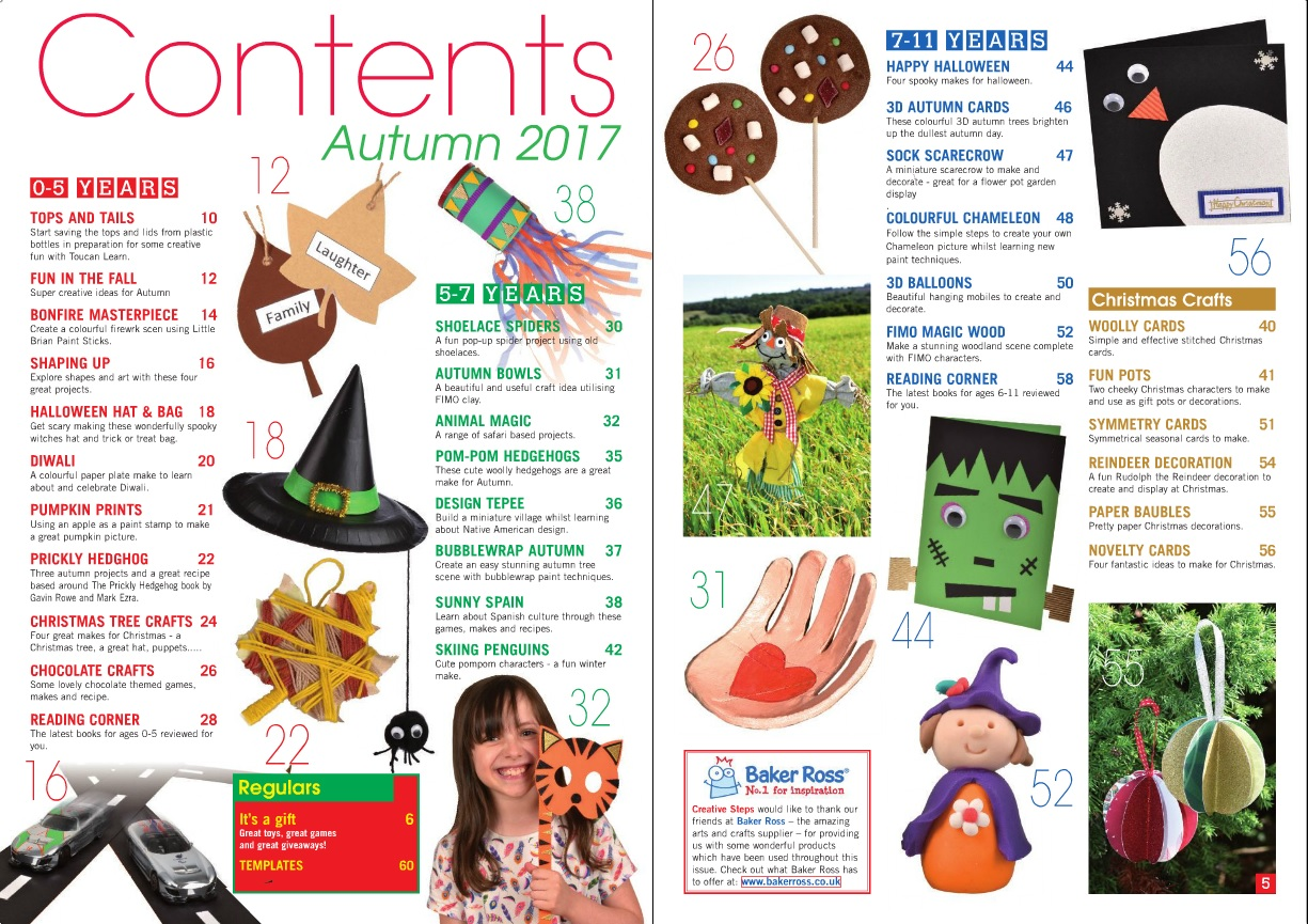 Creative Steps Autumn (Fall) 2017 (issue 55)'s contents