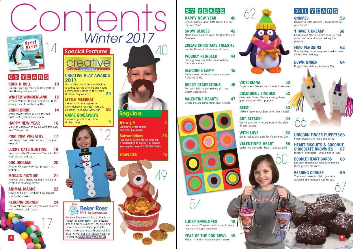 Creative Steps Winter 2017 Issue 56's contents