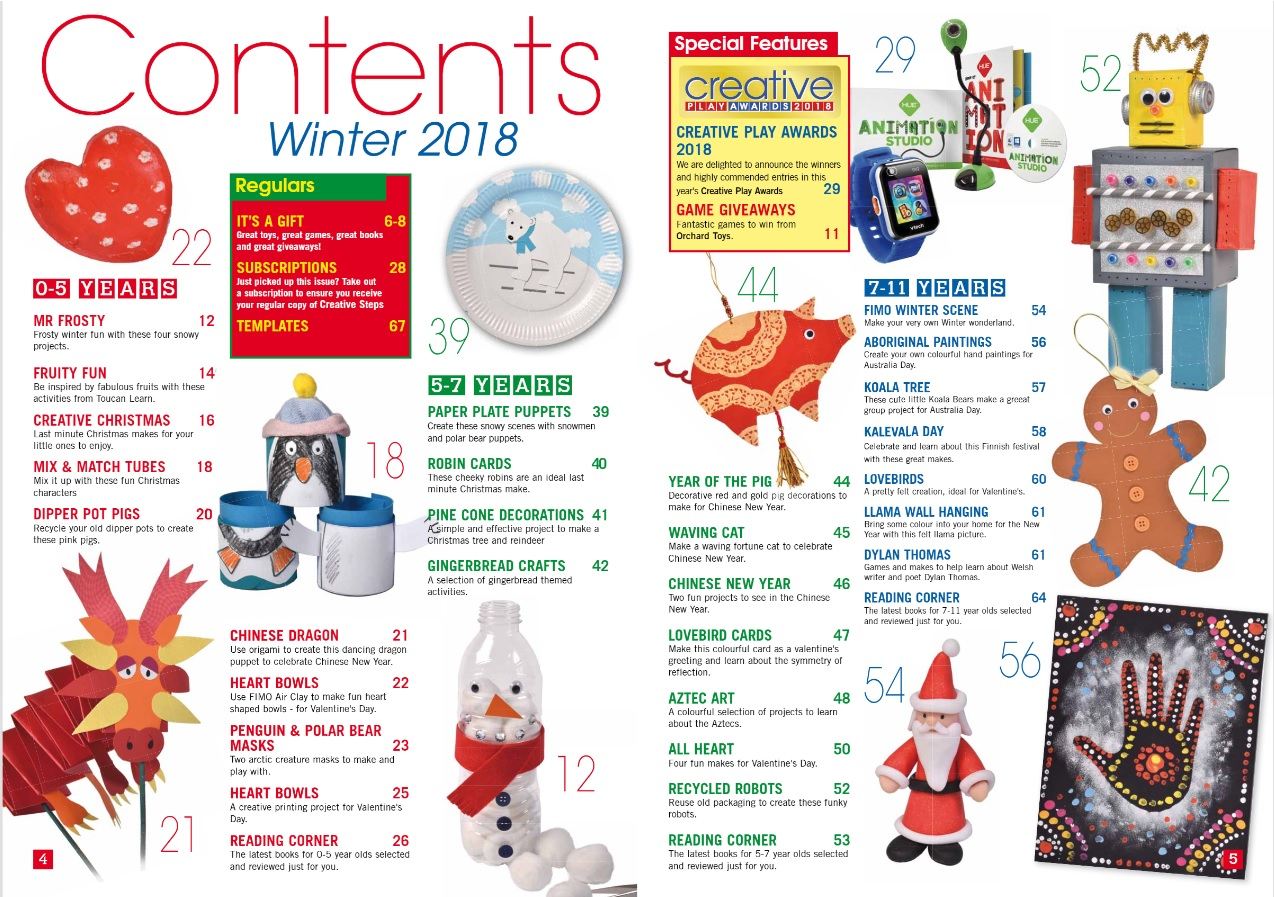 Creative Steps Winter 2018 (issue 60)'s contents