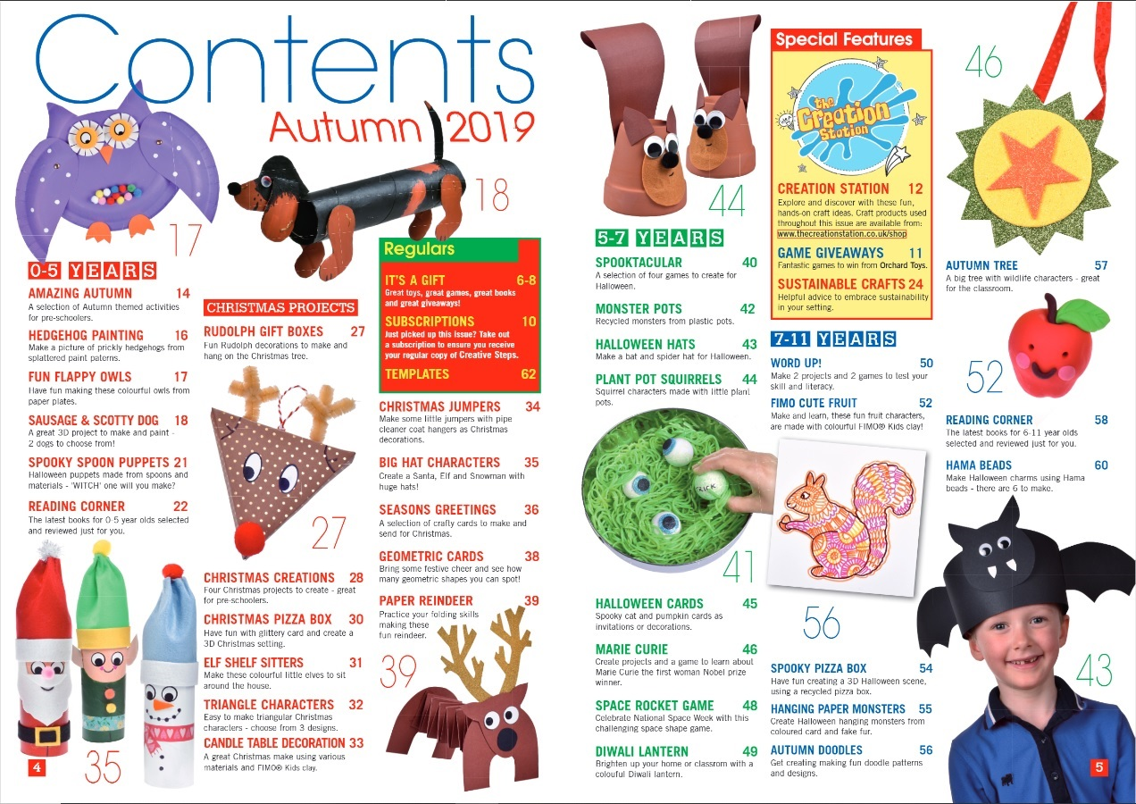 Creative Steps Autumn 2019 Issue 63's contents