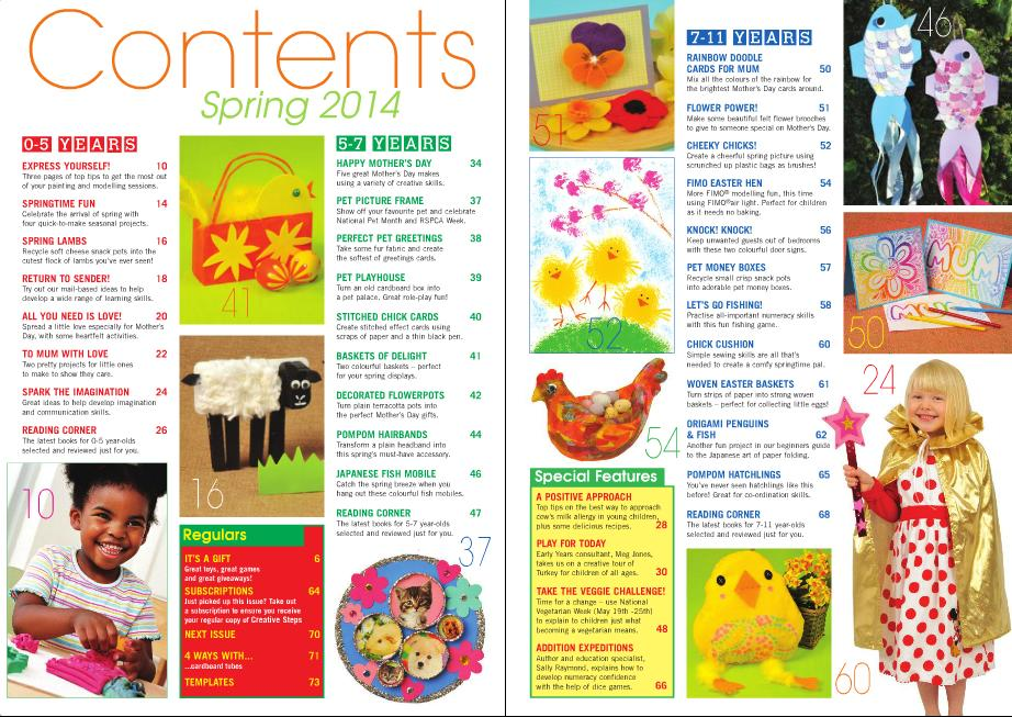Creative Steps Spring 2014 contents