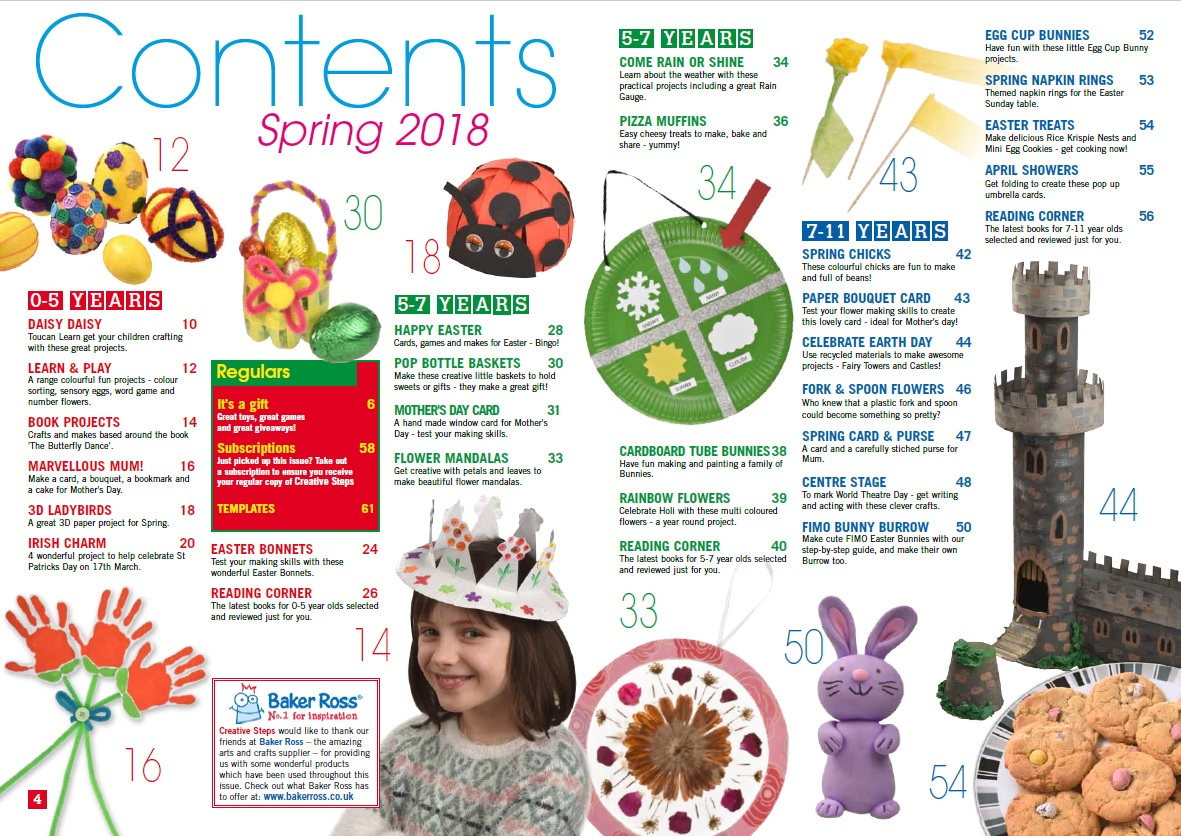 Creative Steps Spring 2018 (Issue 57)'s contents
