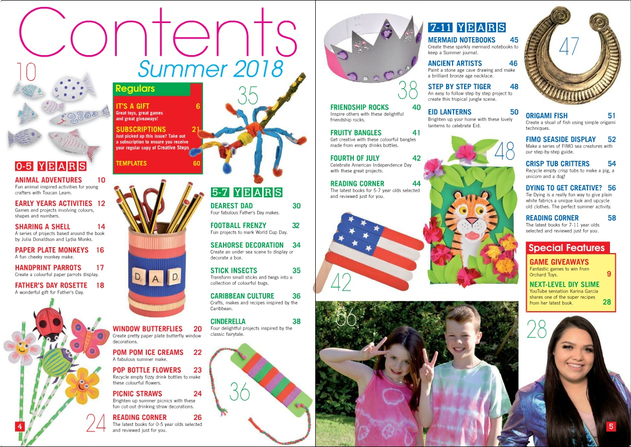Creative Steps Summer 2018 (issue 58)'s contents