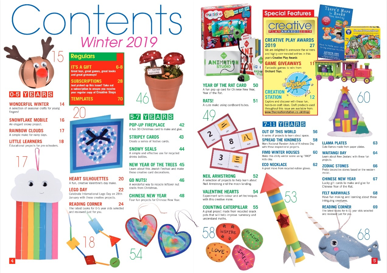 Creative Steps Winter 2019 Issue 64's contents