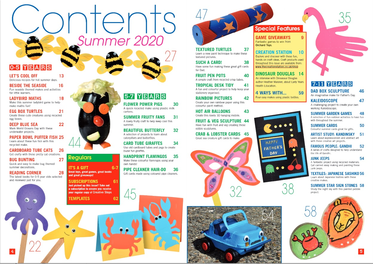 Creative Steps Summer 2020 Issue 66's contents