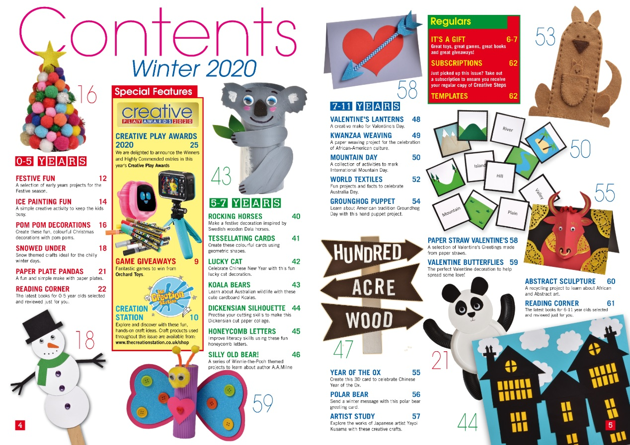 Creative Steps Winter 2020 Issue 68's contents