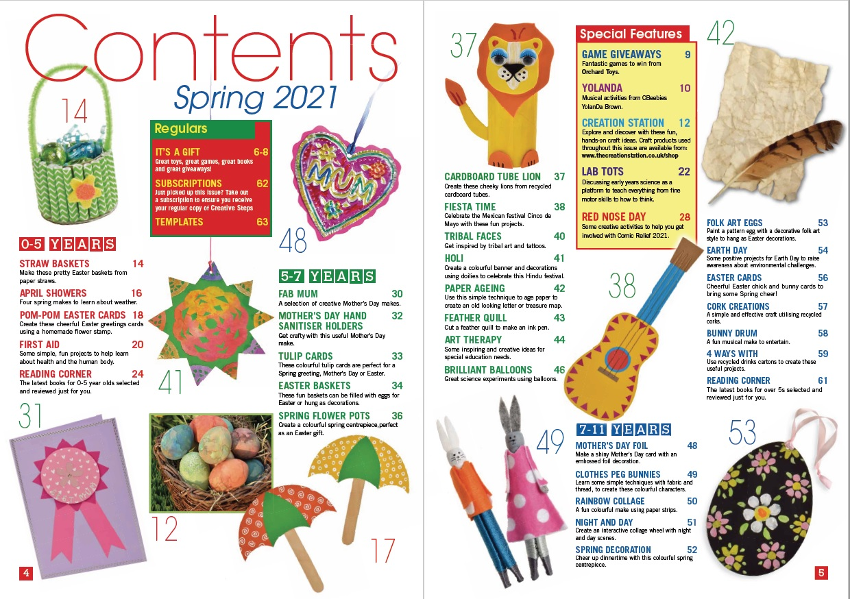 Creative Steps Spring 2021 Issue 69's contents