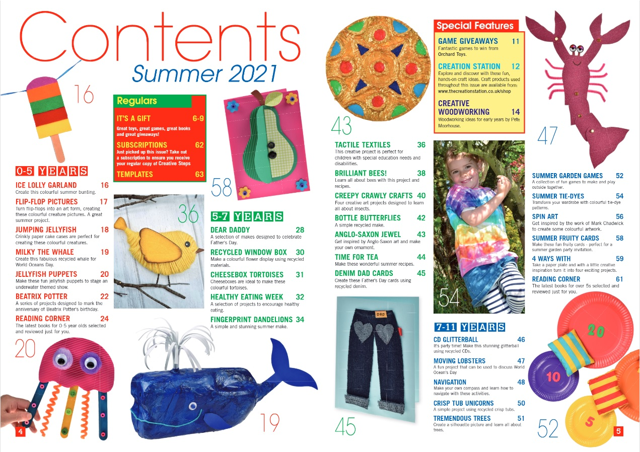 Creative Steps Summer 2021 Issue 70's contents