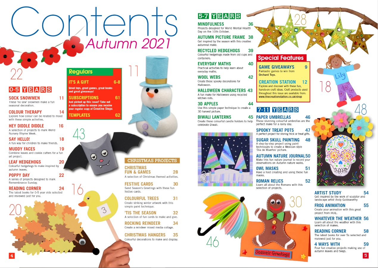 Creative Steps Autumn 2021 Issue 71's contents
